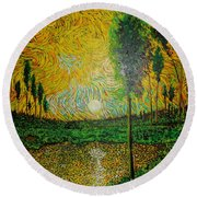 Yellow Pond Round Beach Towel