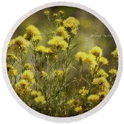 Yellow Rabbitbrush Round Beach Towel by Lana Trussell