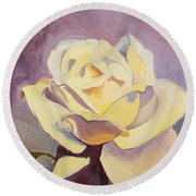 Yellow Rose-1-posthumously Presented Paintings Of Sachi Spohn  Round Beach Towel