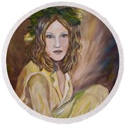 Round Beach Towel featuring the painting Yellow Rose by Julie Brugh Riffey