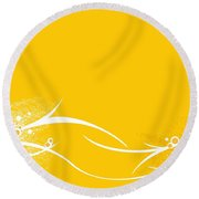 Yellow Twigs Round Beach Towel