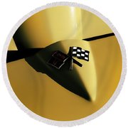 Yellow Vette Badge Round Beach Towel
