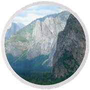 Yosemite Bridalveil Fall Round Beach Towel