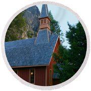 Yosemite Chapel Round Beach Towel