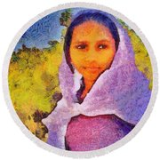 Young Moroccan Girl Round Beach Towel