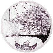 Zen Sumi Asian Lake Fisherman Black Ink On White Canvas Round Beach Towel