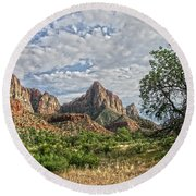 Round Beach Towel featuring the photograph Zion National Park by Anne Rodkin