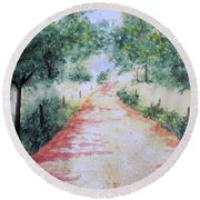 A Country Road Round Beach Towel by Vicki  Housel