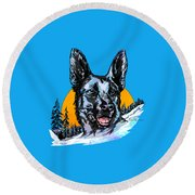 Round Beach Towel featuring the drawing  Alsatian by Andrzej Szczerski