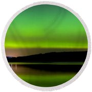 Aurora Over The Beauly Firth Round Beach Towel