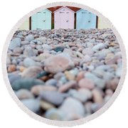 Beach Huts And Pebbles Round Beach Towel