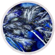 Blue Palms Round Beach Towel