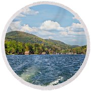Round Beach Towel featuring the photograph  Boat Ride Digital Art by Susan Leggett