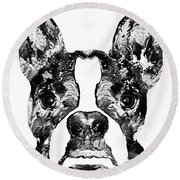 Boston Terrier Dog Black And White Art - Sharon Cummings Round Beach Towel