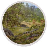 Bow Bridge Central Park Round Beach Towel