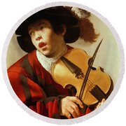 Boy Playing Stringed Instrument And Singing Round Beach Towel by Hendrick Ter Brugghen