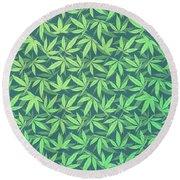 Cannabis   Hemp  420   Marijuana  Pattern Round Beach Towel