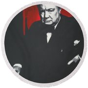 - Churchill - Round Beach Towel by Luis Ludzska