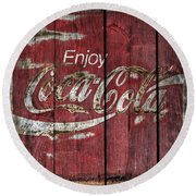 Coca Cola Sign Barn Wood Round Beach Towel