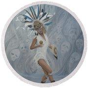 Conchera En Trance Round Beach Towel by Angel Ortiz