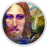 Round Beach Towel featuring the painting  Contemporary Jesus Painting, Chalice Of Life by Jane Small