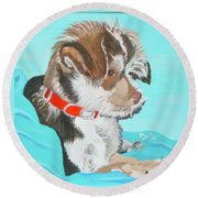 Round Beach Towel featuring the painting  Cute Little Puppy by Phyllis Kaltenbach