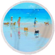 Dog Beach Day Round Beach Towel
