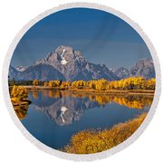Fall Colors At Oxbow Bend In Grand Teton National Park Round Beach Towel by Sam Antonio Photography