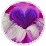 Round Beach Towel featuring the photograph  Flower Heart by Linda Sannuti
