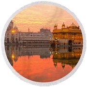 Golden Temple Round Beach Towel by Luciano Mortula