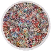 Round Beach Towel featuring the painting  Golf by Natalie Holland
