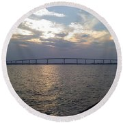 Gov Thomas Johnson Bridge Round Beach Towel
