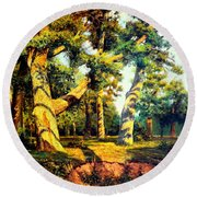 Green Summer-the Oak Forest Round Beach Towel