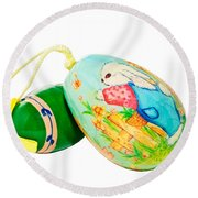 Round Beach Towel featuring the photograph  Hand Painted Easter Eggs by Susan Leggett