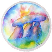 Round Beach Towel featuring the painting  Haroldstown Dolmen by Trudi Doyle