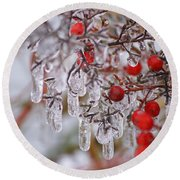 Round Beach Towel featuring the photograph  Holiday Ice by Heidi Poulin