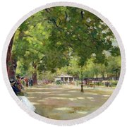 Hyde Park - London Round Beach Towel by Count Girolamo Pieri Nerli
