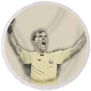 Iker Casillas  Round Beach Towel by Don Kuing