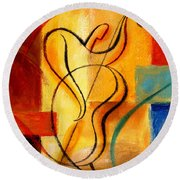 Jazz Fusion Round Beach Towel by Leon Zernitsky