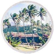 Round Beach Towel featuring the photograph  Lanakila 'ihi'ihi O Iehowa O Na Kaua Church Keanae Maui Hawaii by Sharon Mau