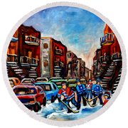 Round Beach Towel featuring the painting  Late Afternoon Street Hockey by Carole Spandau