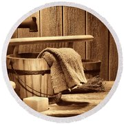 Laundry At The Ranch Round Beach Towel by American West Legend By Olivier Le Queinec