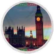 London Clock Tower And Double Deckker Bus Round Beach Towel