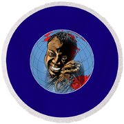 Round Beach Towel featuring the painting  Louis. by Andrzej Szczerski