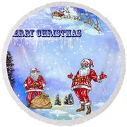 Merry Christmas To My Friends In The Faa Round Beach Towel
