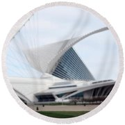 Round Beach Towel featuring the photograph  Milwaukee Art Museum by Kay Novy