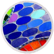 Mosaic Abstract Of The Blue Green Red Orange Stones Round Beach Towel by Michael Hoard