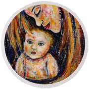 Mother's Love Round Beach Towel by Natalie Holland