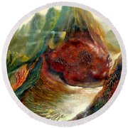 Round Beach Towel featuring the painting  Mountains Fire by Henryk Gorecki