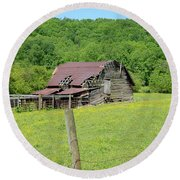 Round Beach Towel featuring the photograph  Old Goshen Barn by Susan Leggett
